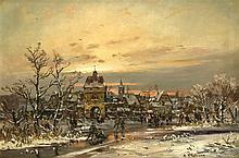 Adolf Stademann (1824-1895), Münchener Landschaftsmaler, Eisvergnügen vor d