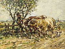Julius Seyler (1873-1985), zwei Ochsen von Bauer und Hund begleitet, Öl/Kar