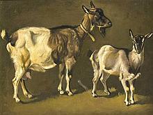 Maler des 19. Jh., zwei Ziegen, Öl/Lwd., unsign., rest. u. retusch., doubl.