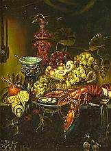 Englischer Maler um 1900, Prunkstillleben nach älterem Vorbild, üppiges Arr