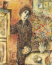Marc Chagall (1887-1985), Kopie nach, 1. H. 20. Jh., Maler mit Palette an S
