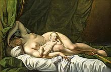 Anonymer Maler 1. H. 19. Jh., schlafende Venus mit Cupido, Öl/Lwd., unsign.