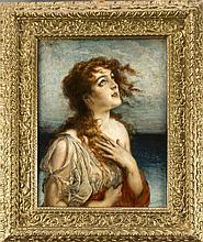 Leopold Schmutzler (1864-1941), Bildnis eines jungen Mädchens mit entblößte