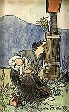 Otto Seitz (1846-1912), verzweifelte Mutter mit Kind am Wegkreuz, Tusche-Ze