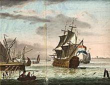 Holländischer Marinemaler d. 18. Jh., versch. Segelschiffe im Hafen mit Fig