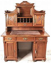 Jugendstil - Schreibtisch um 1900, Nussbaum massiv/furniert, Unterteil mit