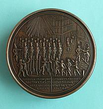 French Revolution: an interesting circular snuff box, the embossed metal co