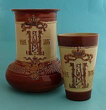 1896 Tsar Nicolas II Coronation: a buff pottery jug and matching beaker eac