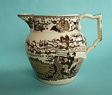 1832 Reform: a small jug printed in brown with 'The Old Rotten Borough Tree