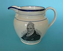 William and Adelaide: a jug printed in black with portraits inscribed 'Cham