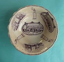 1832 Reform: a pottery bowl printed in purple with vignettes including the