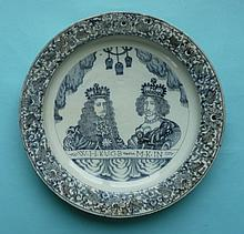William and Mary: a large Dutch Delft dish painted in blue with half-length