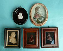 George III: a moulded white relief profile on glass, framed, 155mm high ove