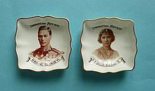 1937 Coronation: a small pair of Royal Crown Derby quartrelobe dishes with