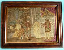 A late Georgian finely executed colourful needlework picture with painted f