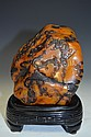 Carved Orange & Brown Soapstone Dragons Amongst Clouds
