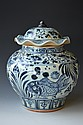 Chinese Blue & White Glazed Porcelain Lidded Vase