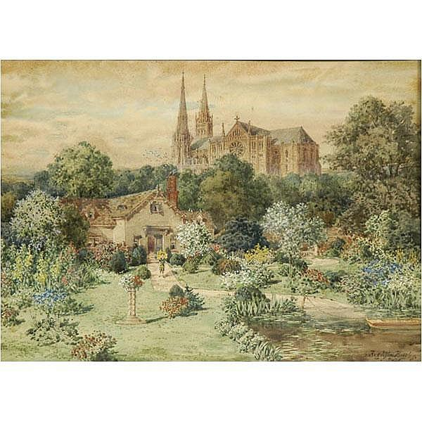 Hughson Hawley, Chartres Cathedral watercolor