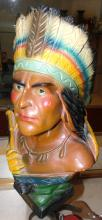 Vintage Indian chalkware chief statue, Marked, EC
