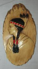 Vintage Indian Plaque, 9 x 5, EC, From Tomahawk Gift Shop, Cherokee, NC