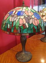 Tiffany Style Glass Lamp Shade Floral Design with Base, 23
