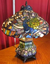 Table Lamp Handcrafted Hand Cut Stained Glass Shade Tiffany Style Peacock Style, 23