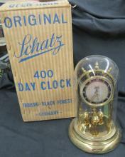 Vintage Schatz 400 Day Anniversary Clock Brass  with Original Box, None Working, 9 1/4