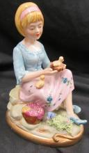 Copedimonte figurine girl with chicks, 5 1/2