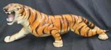 Large Vintage Estate 80s Italian Pottery Tiger Figurine Signed Italy, EC