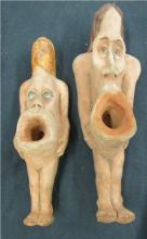 Two Large Mouth Naked Pottery Figures, EC