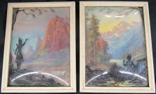 Vintage 7 x 9 Reverse Silhouette Pictures Convex Glass Indian , EC
