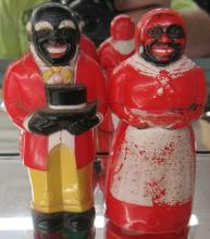 Vintage Plastic F & F Mold & Die Aunt Jemima & Uncle Moses Salt Pepper, 3 1/2
