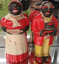Vintage Plastic F & F Mold & Die Aunt Jemima & Uncle Moses Salt Pepper, 5 1/2