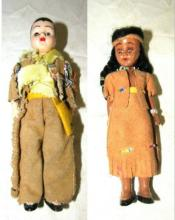 Vintage Cowboy and Indian girl Dolls, in leather, 7