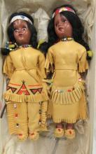 Two Vintage Sleepy Eye Plastic Native American Indian  Dolls, 7 1/2