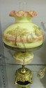 "Fenton Burmese Lamp ""Trees Scene""21""H, Hand Pianted Signed by Artist, Dated July 1973, #551,"