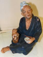 Vintage Rare Hakata Urasaki Doll Japan Old Man with Saki 1950's, 7 1/2