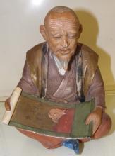 Vintage Rare Hakata Urasaki Doll Japan Old Man with Scroll Painting 1950's, 9