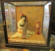 Vintage Oriental Doll in Glass Display Box, 16 x 14 x 17