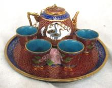 Vintage Chinese Miniature Cloisonne Tea Set, EC