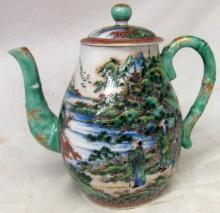 Oriental Porcelain Tea Pot, 7