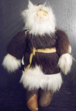 Antique Hand Made Alaska Native Eskimo Doll Beaded Real Leather, Fur, Seal Skin, 8