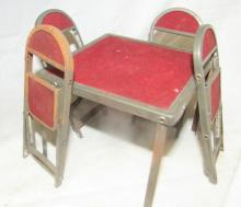 Antique doll house folding table and chairs, 4 x 4 x 3
