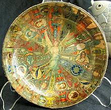 Folk Art Antique Cigar Labels Bowl with Angel Center, 5 1/4