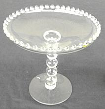 5 Bead Stem Compote in the Candlewick-Clear (stem #3400) pattern by Imperial Glass, 7 1/2