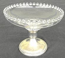 Sterling Silver Peg Compote in the Candlewick-Clear (stem #3400) pattern by Imperial Glass,5 3/4