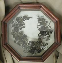 Antique Victorian Late 18th Century Mourning Hair Art, Octagon Framed, 14
