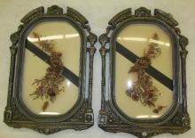 Antique Art Deco Convex Glass Dried Flower Pictures Wall Décor, Pair, 14 x 21, VGC