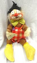 Vintage Annalee Mobilitee Doll Circus Clown Red and White, 24
