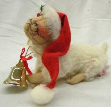 Vintage 93' Annalee Sheep Lamb Doll with Santa Hat, Holly and Bell, 5